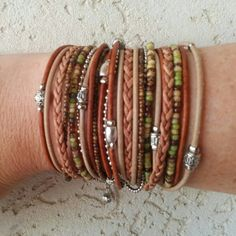 Check out this item in my Etsy shop https://www.etsy.com/listing/246501336/wrap-bracelet-multi-strand-distressed