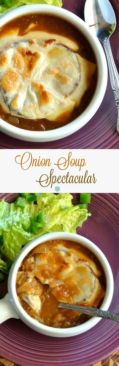 Onion Soup Spectacular is rich and flavorful and I could eat it everyday. It's amazing how little time is required for this delicious soup. ~ https://veganinthefreezer.com