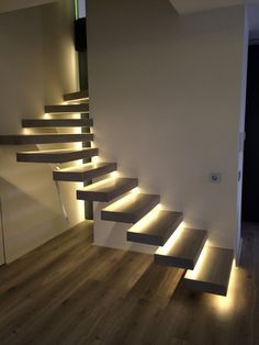 Staircase Design Modern, Home Stairs Design, Modern Stairs, Interior Stairs, Dream Home Design, Home Interior Design, Stairs Architecture, Modern Architecture, Staircase Lighting Ideas