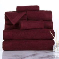 Somerset Home Ribbed Egyptian Cotton 10-Piece Towel Set, Red