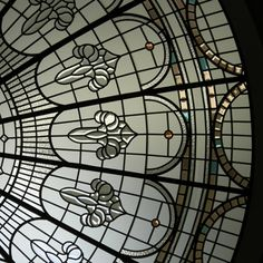 stained and leaded glass classical domed skylight with beveled cluster