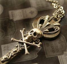 Steampunk Skull Skeleton Key Pendant Necklace by DesignsBloom, $26.00