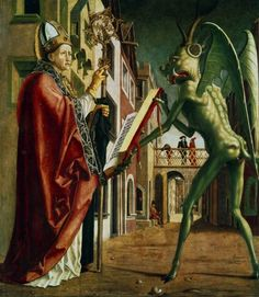 The Devil presenting St Augustine (of Hippo) with the book of vices. Michael Pacher Oil on wood Framed Print Framed, Poster, Canvas Prints, Puzzles, Photo Gifts and Wall Art Renaissance Kunst, Renaissance Paintings, Aliens And Ufos, Ancient Aliens, Saints Vs, Augustine Of Hippo, Unexplained Mysteries, Deal With The Devil, Arte Obscura