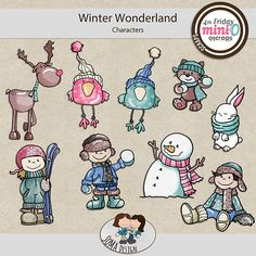 SoMa Design: Winter Wonderland - MiniO - Characters 9 cute, handdrawn characters are in this package Winter Wonderland, Digital Scrapbooking, How To Draw Hands, Characters, Font Family, Comics, Cute, Cards, Mini