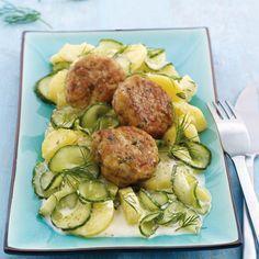 WeightWatchers.de: Weight Watchers Rezept - Fischfrikadellen mit Kartoffel Gurken Salat