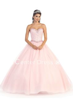 Ball Gown Long Sweetheart Sleeveless Tulle Dress With Beading