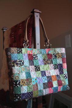 Quadratische Patch-big-Bag (handgemacht, gesteppte)