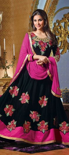418790: #anarkali #black #LaraDutta #Actress #Bollywood #GetThisLook #Floral #embroidery #sale #Diwali #pink #ethnic #Designer #Partywear #flowy #stunning #Fashion #Actor