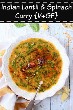 Step-by-step recipe with pictures to make dal palak. How to prepare Indian spinach dal curry. Spinach Dal, Spinach Curry, Curry Recipes, Vegetarian Recipes, Cooking Recipes, Vegetarian Platter, Vegan Soups, Dishes Recipes, Vegan Dishes