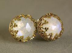 14k Gold Moonstone Earrings Sterling by TazziesCustomJewelry, $179.00