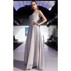 Elegante geraffte One Shoulder Abendkleider A-Linie Chiffon Lang c6b7e13e0c