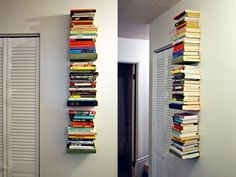 DIY invisible book shelf for small spaces with limited storage.