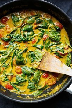 Coconut Curry with Spinach and Tomatoes - Cooking Carousel Coconut Curry with Spinach and T . - Coconut curry with spinach and tomatoes – Cooking carousel Coconut curry with spinach and tomatoe - Veggie Recipes, Indian Food Recipes, Vegetarian Recipes, Cooking Recipes, Healthy Recipes, Sausage Recipes, Ethnic Recipes, Healthy Snacks, Healthy Eating