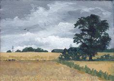 Landscape Paintings, Landscapes, Yellow Fields, Countryside Landscape, Grey Skies, Tree Silhouette, Black Rock, Autumn Art, Paisajes