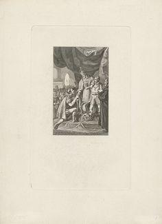 Jacob Ernst Marcus | Troonsafstand van Karel V, 1555, Jacob Ernst Marcus, 1820 | Troonsafstand door keizer Karel V, 25 oktober 1555. Karel V doet afstand van de troon, staande met een arm geleund op de schouder van Willem van Oranje, voor hem knielt Filips.