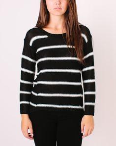 Winona Knitted Sweater- Black/Ivory