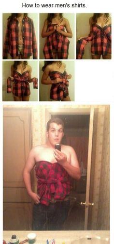 Como puede llevar una mujer una camisa de hombre