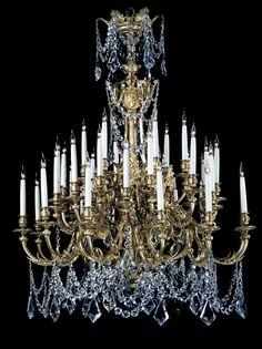 A Fine Louis XVI Style Cut-Glass and Gilt-Bronze Thirty-Six Light Chandelier  French, Circa 1870.