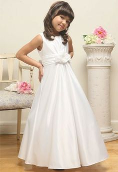 Elegant White Flower Girl Dress