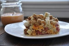 If you love Reuben sandwiches, you'll definitely love this! It's a Reuben sandwich as a casserole. Better yet, you make it in the slow cooker.