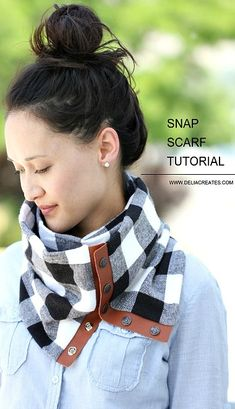 DIY Leather + Flannel Snap Scarf