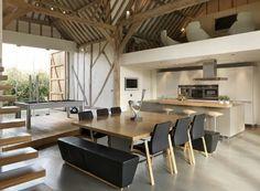 salon sous combles sol en beton ciré gris meubles de salle de sejour sous combles