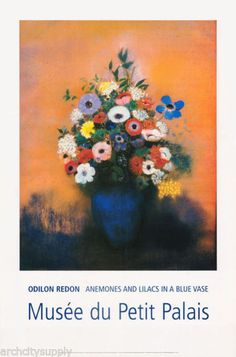 POSTER :ART:ANEMONES & LILACS IN A BLUE VASE -REDON - FREE SHIP  #ST2776  RC13 E   eBay