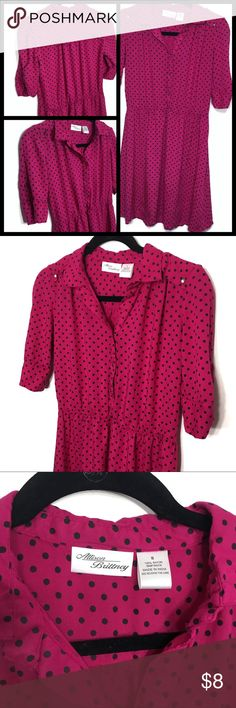 Magenta Polka Dot Elastic Waist Vintage-Style Look retro and adorable in this magenta and black polka dot dress. Vintage inspired, comfortable, and flattering. Minnie Mouse is happy to share her signature colors with you! Allison Brittney Dresses