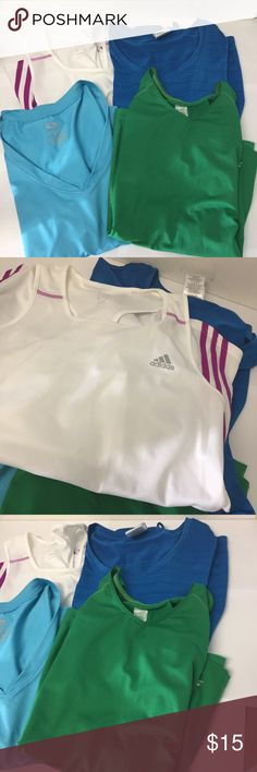 Athletic Tops Set of 4 A set of 4    Blue Top is long sleeves.  Slazenger , adidas, danskin and Athletic works. Sizes L to XL Tops