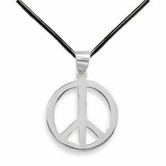 Peace Sign Sterling Silver Pendant Necklace with 20-inch Black Leather AzureBella Jewelry. $41.02. Chain Included - Your choice leather or silver. .925 sterling silver. Jewelry gift box included
