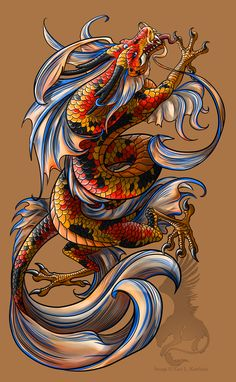 Koi Dragon tattoo by YamiGriffin.deviantart.com on @deviantART