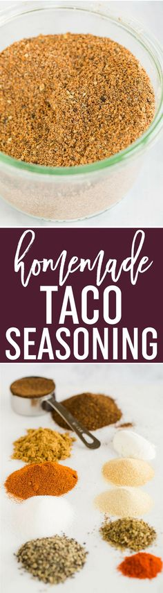 Homemade Taco Seasoning - This easy homemade taco seasoning mix can be made in just five minutes! Keep it in the pantry for quick taco nights with no preservatives. via @browneyedbaker