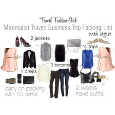 Minimalist Travel: Business Trip Packing List by travelfashiongirl I've got all these basics so my next business trip should be a carry-on blast!
