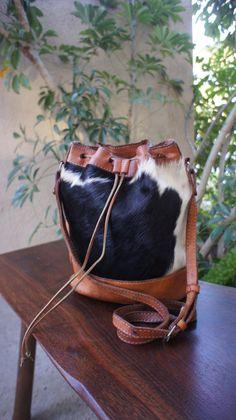 Vintage Handmade Cowhide Fur Leather Bucket Bag, Shoulder Purse Cross Body, Unique Vintage