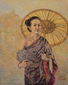 Lao Dress Painting - Golden Luang Prabang by Sompaseuth Chounlamany Dress Painting, Woman Painting, Watercolor Landscape, Landscape Art, Laos Culture, Thailand Art, Luang Prabang, Thai Art, Acrylic Art