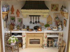 Miniatur Puppenhaus Küche RoomBox im alten Stil von Minicler