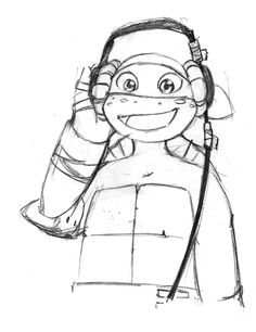 """nicollini: """"Donnie! This thing plays MUSIC!""""Mikey get his first headphones from Donatello. They were fed up with him being so noisy with the radio. XD- 9 years old(I want to read a fanfiction of this! You can change the age, reason, whatever, but pleeeeeeeeeeeeeeeaaaase make this for me happen! .)"""