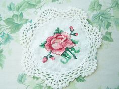 Cross Stitch Doily Embroidered Doily Shabby Pink by WitsEndDesign, $10.00