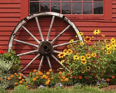 Rustic Outdoor Decoration. See More. Pretty Setting For A Wagon Wheel.