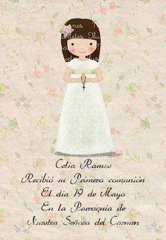 marietes ilustracion: Recordatorios Comunión 2013 First Communion Invitations, Vintage Cards, Christening, Childrens Books, Catholic, Little Girls, Art Projects, Clip Art, Disney Princess
