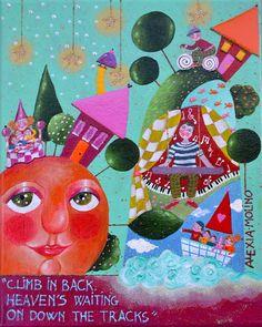 "Alexia Molino - ""Climb in back. Heaven's waiting on down the tracks"" (24x30)"