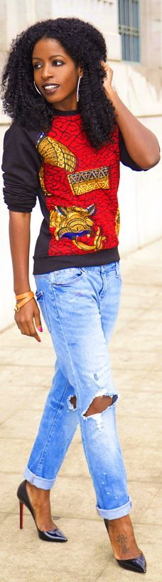 African Print Crew Neck + Ripped Boyfriend Jeans by Style Pantry