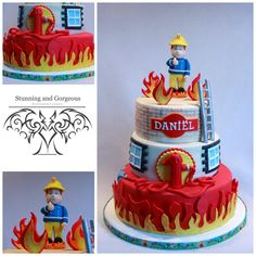 Fondant Cake Toppers, Fondant Cakes, Fireman Sam Cake, Fireman Party, Birthday Treats, Birthday Cake, Fire Engine Cake, Fire Fighter Cake, Funny Cake