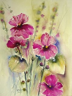 Paarse Stokrozen, aquarel van bloemen