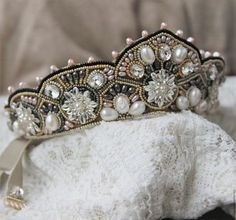 Ribbon Jewelry, Circlet, Royal Jewels, Tiaras And Crowns, Wedding Hair Accessories, Bridal Headpieces, Handmade Wedding, Beaded Embroidery, Headbands