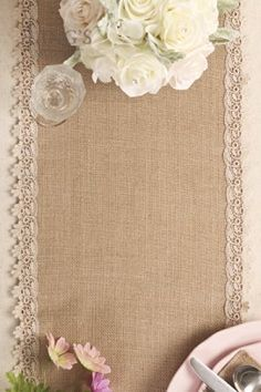 "Amazon.com: Ling's moment 12""x108"" Burlap Cream Lace Hessian Table Runner for Vintage Wedding, Christmas Xmas centerpiece Bridal & Baby Shower Kitchen Decor, Winter Decoration Length Available(9FT): Home & Kitchen"