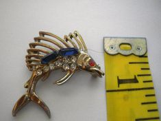Vintage  Swordfish Pin - Brooch Measures 1.5 X 1 And 5/8 Inches