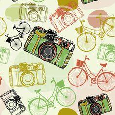 Vector Vintage film camera and bicycles seamless от BaikalBox, $3.50