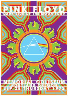 PINK FLOYD - 29 September 1972 - Portland - retro artistic concert poster on Etsy - Dark Side of the Moon, psychedelic art, kaleidoscope eyes, prism, rainbow, transformation