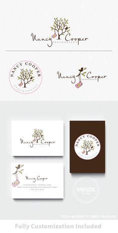 Logo + businesscard package - A Camera and a Bird -Premade Photography , Elegant whimsical design TREE camera branding kit children Logo